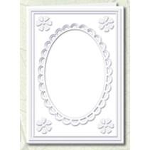 5 Passepartoutkarten mit ovalem Ausschnitt und Spitzenrand, weiß