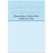 5 Doppelkarten A6, wasserblau, 250 g / qm