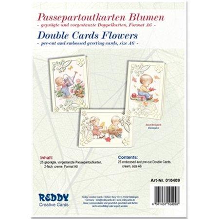 KARTEN und Zubehör / Cards 5 Passepartout cartes en relief et des fleurs, des cartes pré-découpées Double, crème