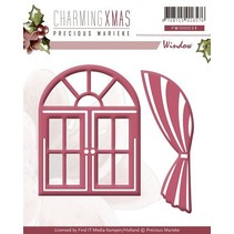 Punching and embossing template, windows with curtains