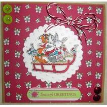 Clear stamps, 75 x 75mm, Pippi Træ jul - Sledge