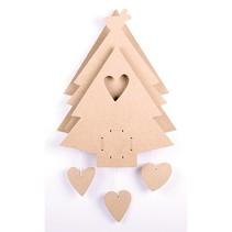Árbol de MDF de Navidad con caja de música