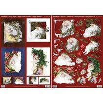 Tarjetas de Navidad Set: hojas cortadas Die 3D, Santas, incluyendo 4 tarjetas dobles