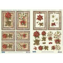 Cartes de Noël Set: feuilles Die 3D coupées, poinsettia, dont 4 cartes doubles