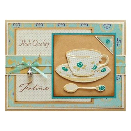 Marianne Design Corte y estampado en relieve plantillas, taza de café, platillo y cuchara