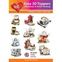 """3D perforación motivos Bastelset: """"El café y el té"""", 1 juego = 10 motivos diferentes en 3D!"""