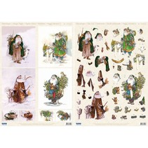 3D Die cut sheets + background bow, Santas with animals