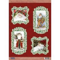 Muere hojas sueltas, Santa Claus, 4 diseños a Kartengestaltung