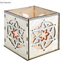 Wooden Bastelset fyrfadslys holder, med stjerne motiv, 9,5x9,5x10cm, med 15 stjerner