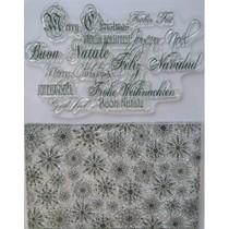 Transparent Stempel, Eiskristalle und Weihnachtsgrüße in viele Sprachen