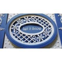 plantillas de perforación y gofrado, tema de la Navidad: Marco con encajes y los copos de nieve