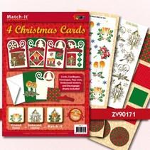 Bastelset: 4 cartes de Noël