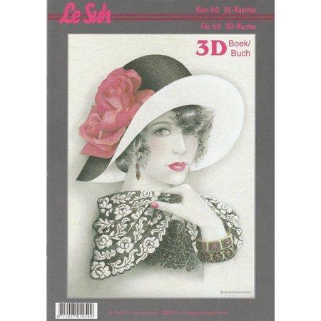 BILDER / PICTURES: Studio Light, Staf Wesenbeek, Willem Haenraets 3D Bastelbuch A4 til 60 kort, kvinder med hat