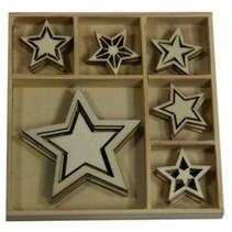 Bois ornement Box, Star 30 parties