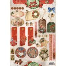 feuilles coupées A4, étiquettes VintageLine Noël / Trailer Light Studio
