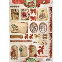Couper les feuilles A4, étiquettes Vintage Ligne de Noël / Remorques Studio Light