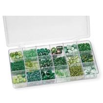 Sortiment af glasperler, grøn