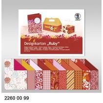 "Designkarton ""Ruby"", Block á 20 Blatt, 24x34cm, 200gr, doppelseitig bedruckt"