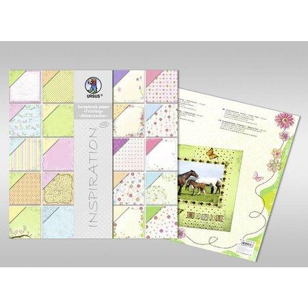 "Designer Papier Scrapbooking: 30,5 x 30,5 cm Papier Scraphook papel, ""Primavera"" / ""flor mágica"", 190g,"