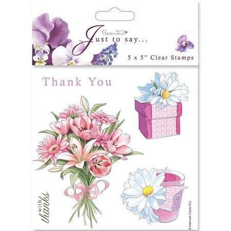 Stempel / Stamp: Transparent 18x18cm, Clear stamps - Merci / Thank You (5 sujets)