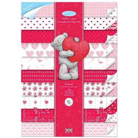 Me to You Printed A4 Designer block with heart motifs, double-sided, 30 pages.