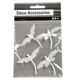 """Embellishments / Verzierungen Accessoires de décoration: """"libellule"""", blanc avec des paillettes"""