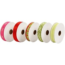 Establecer cintas decorativas, tonos de rojo / verde