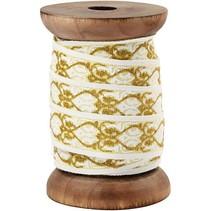 Exclusivo, cinta tejida en carrete de madera, crema / oro