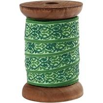 Exclusivo, cinta tejida de madera carrete verde