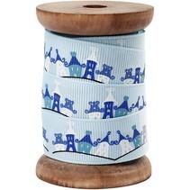 Cinta del grosgrain exclusiva en carrete de madera, de color azul claro