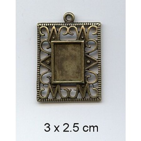 Embellishments / Verzierungen 1 Charm, Frame 3 x 2,5 cm, metal