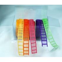 Organza Bänderset, 9mm de large, 5 couleurs