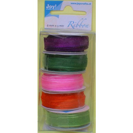 DEKOBAND / RIBBONS / RUBANS ... Organza Bänderset, anchos, colores 5 6mm