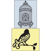 Embossingsfolder Set pájaro y la jaula del pájaro.