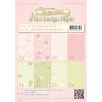 Designerpapier, Swirls & hearts rosa/grün