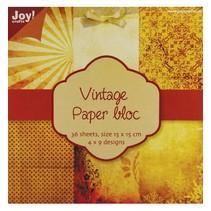 Vintage papier bloc 1, 36 p., 4x9 conceptions 15x15cm