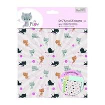, Card Set 12 Designer Cartes et enveloppes Petit Meow