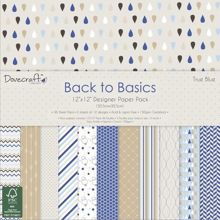Designer Papier Scrapbooking: 30,5 x 30,5 cm Papier Designer Block, True Blue