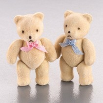 Cute mini bear, flock, 5x3cm, 2 pieces, as decoration for wedding or other occasions.