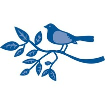 Stamping and Embossing stencil, bird on a branch