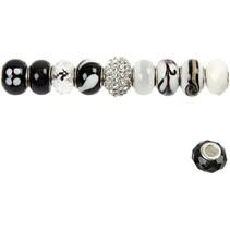 10 perles de verre d'harmonie 13-15 mm, tons noir / blanc, 10 classés, la taille du trou 3-3,5 mm