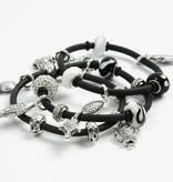 Schmuck Gestalten / Jewellery art Glass beads harmony 13-15 mm, black / white tones, 10 ranked, hole size 3-3,5 mm