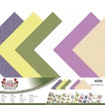 Designerpapier, Leinen, 30,5 x 30,5cm in zarte Farben