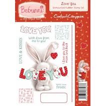 Gummi stempel, BeBunni emne: Jeg elsker dig