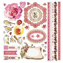 Super genial: Gris besar la cabina Elemento Pegatinas Fronteras Rose Birds 30,5 x30, 5 cm