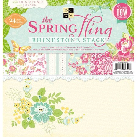 DCWV und Sugar Plum DCWV rhinestone pila de papel. Spring Fling, 30,5 x30, 5 cm, 24 hojas
