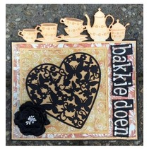 Punching and embossing templates: Heart with butterflies