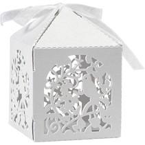 boîte décorative, 5,3x5,3 cm, blanc, oiseau, 12 pcs.