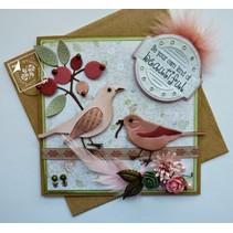 Alegría Crafts, perforación - y la plantilla de estampado amor de la primavera, flores / las bayas