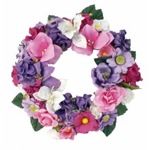 Paper flowers assortment, pink, purple, white